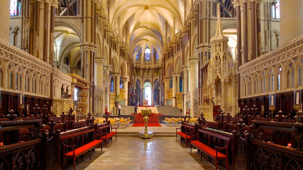 Canterbury Cathedral featuring religious elements, a church or cathedral and interior views