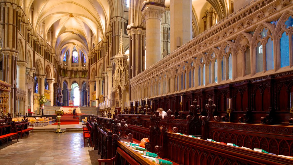 Canterbury Cathedral featuring a church or cathedral, interior views and religious elements