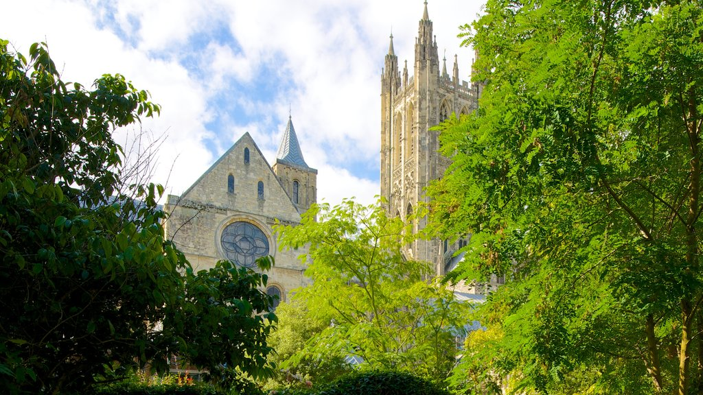 Canterbury Cathedral which includes heritage architecture, religious aspects and a city