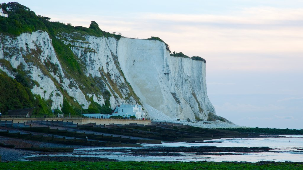 White Cliffs of Dover featuring landscape views, mountains and rugged coastline