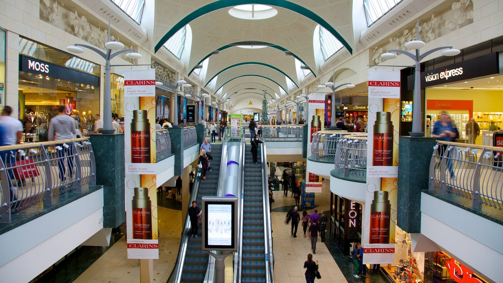 Bluewater Shopping Centre featuring fashion, interior views and a city