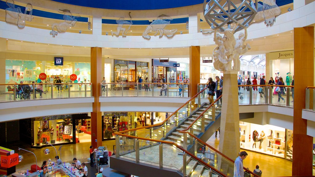Bluewater Shopping Centre showing interior views and shopping as well as a large group of people