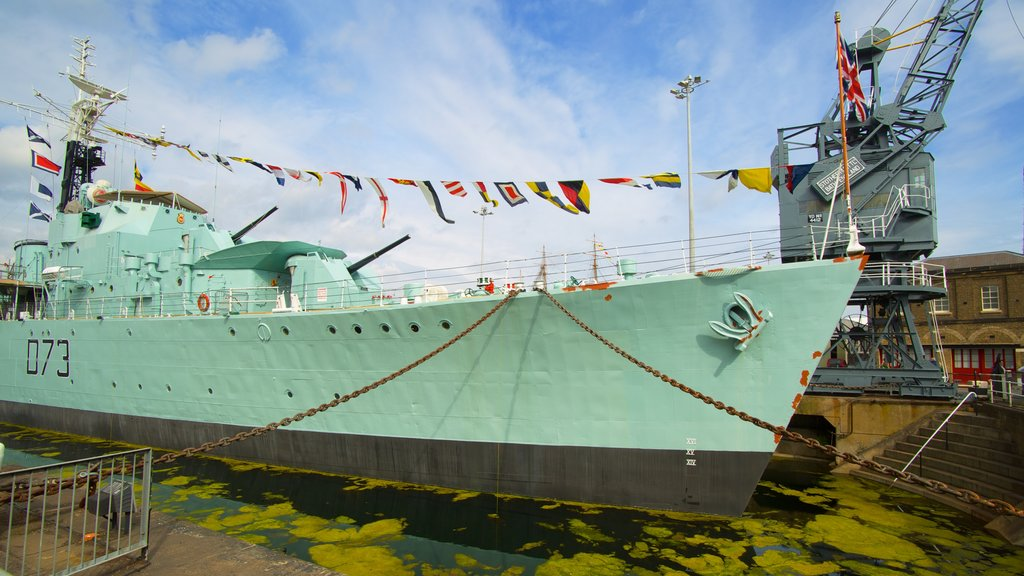 Historic Dockyard Chatham featuring military items