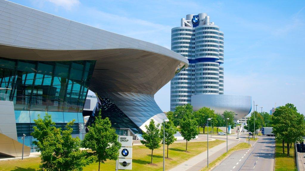 Munich which includes a skyscraper, a city and street scenes