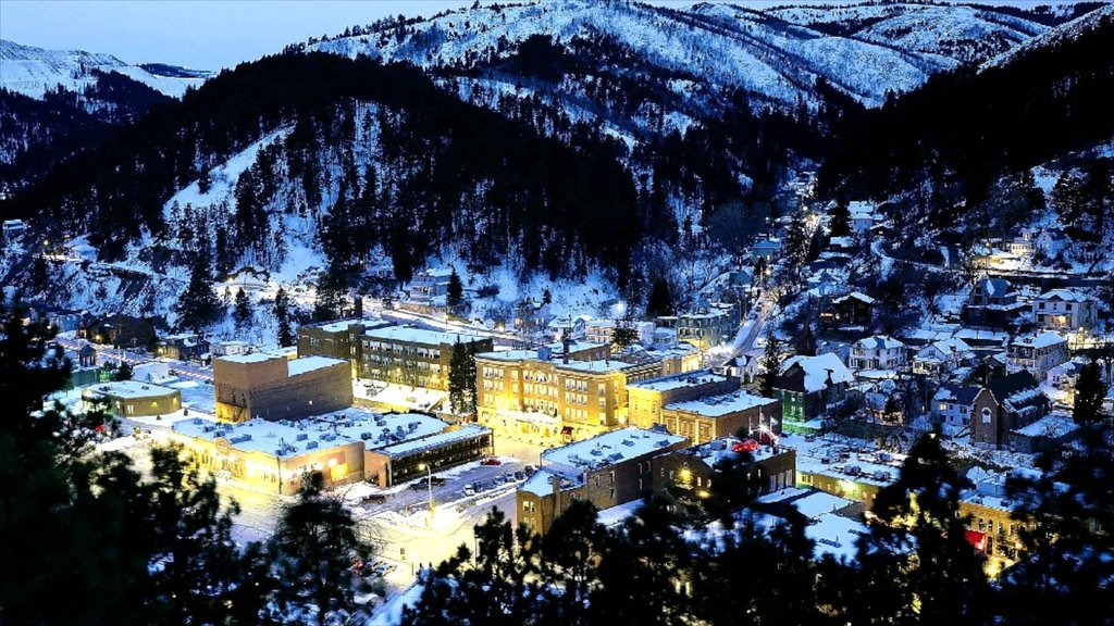 Deadwood which includes snow, night scenes and a small town or village