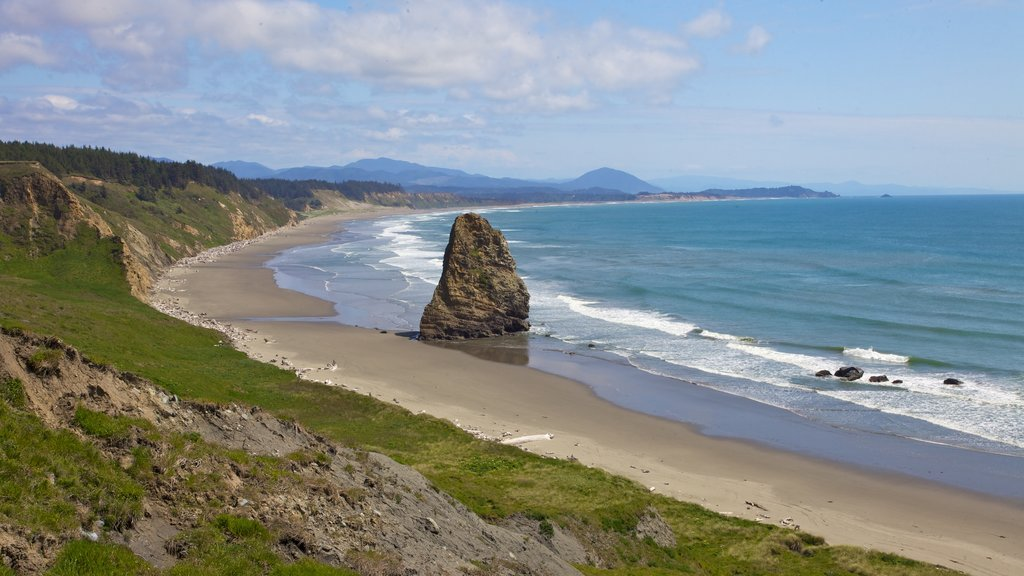 Port Orford featuring landscape views, general coastal views and a sandy beach