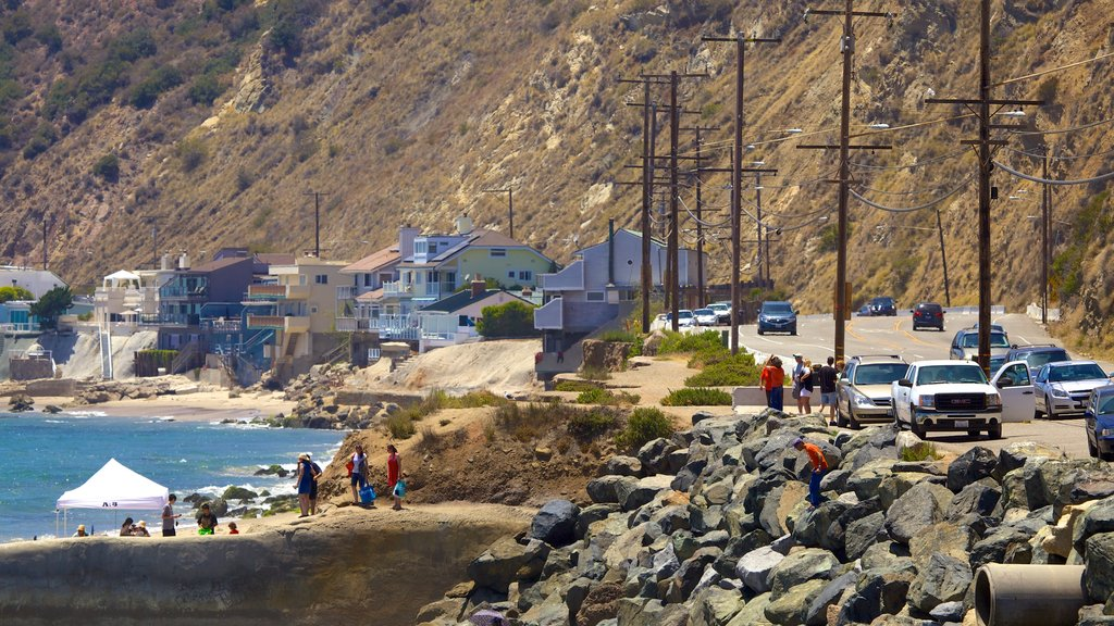 Malibu showing general coastal views, rocky coastline and a coastal town