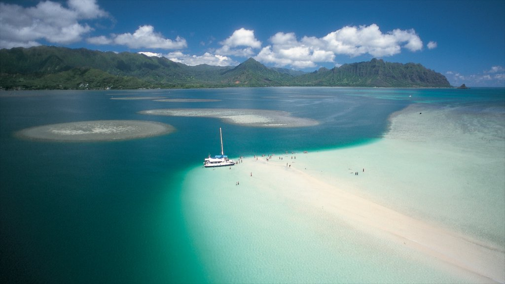 Kaneohe featuring a sandy beach and sailing