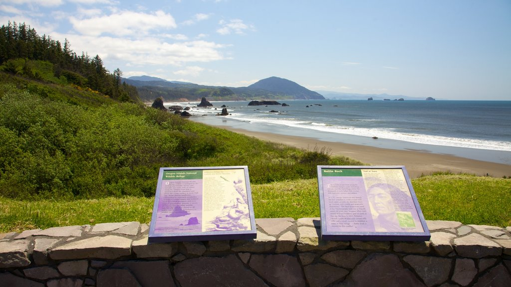 Port Orford featuring heritage elements, a sandy beach and landscape views