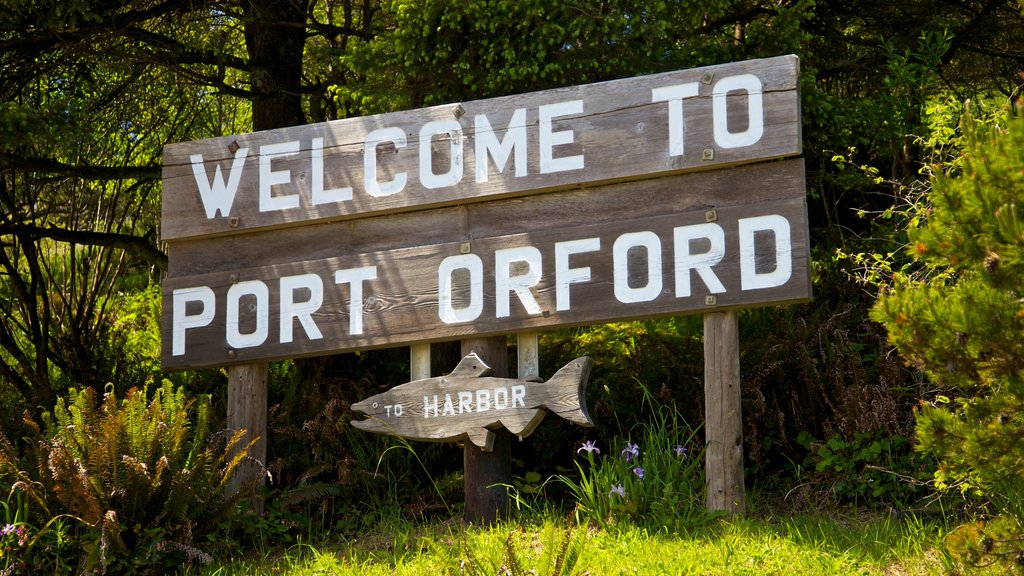 Port Orford which includes signage