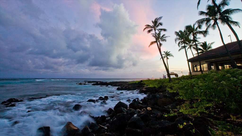Poipu featuring tropical scenes, island images and a sunset