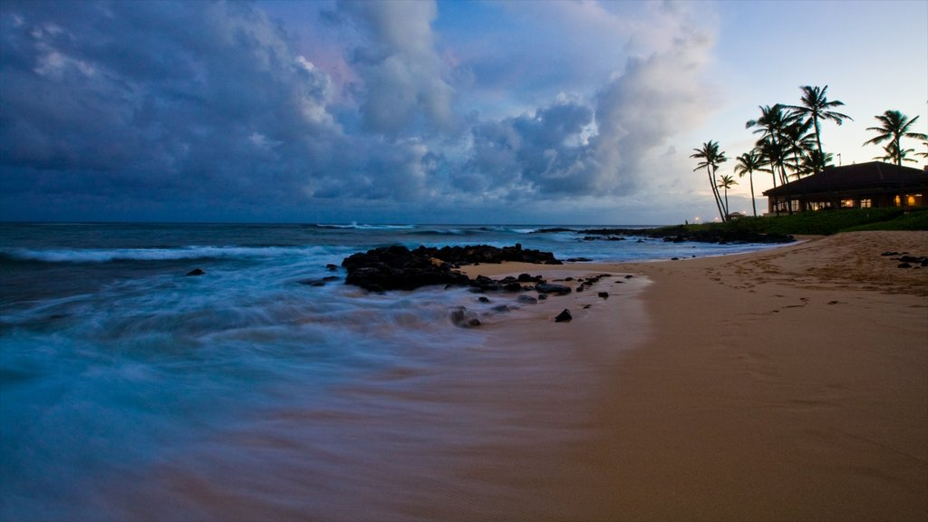 Poipu which includes a beach, tropical scenes and a sunset