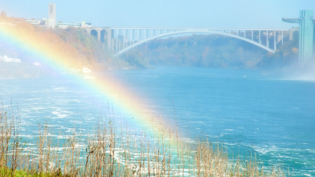Rainbow Bridge which includes a bridge, mist or fog and landscape views