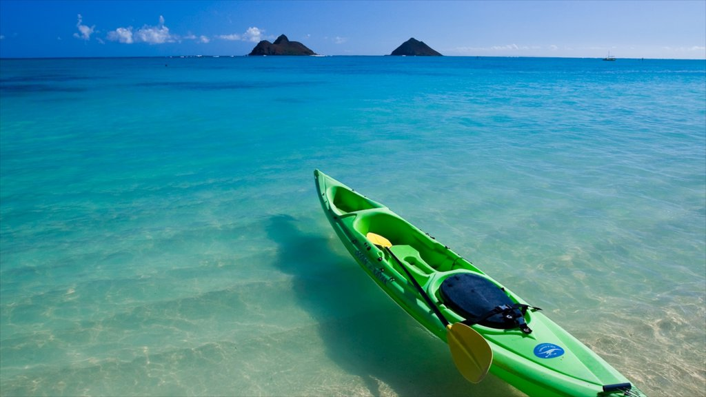 Kailua Beach showing landscape views, a beach and kayaking or canoeing