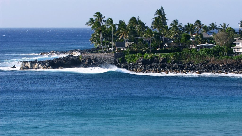 Waimea Bay which includes landscape views, general coastal views and rocky coastline