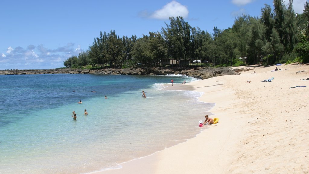 Pupukea Beach Park which includes swimming, landscape views and a sandy beach