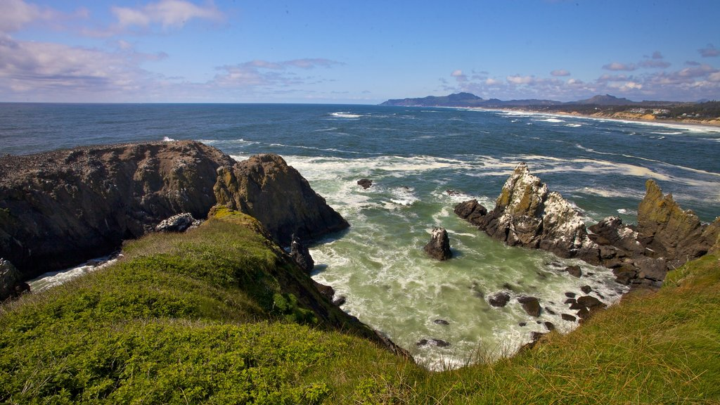 Yaquina Head Light House which includes rugged coastline and landscape views