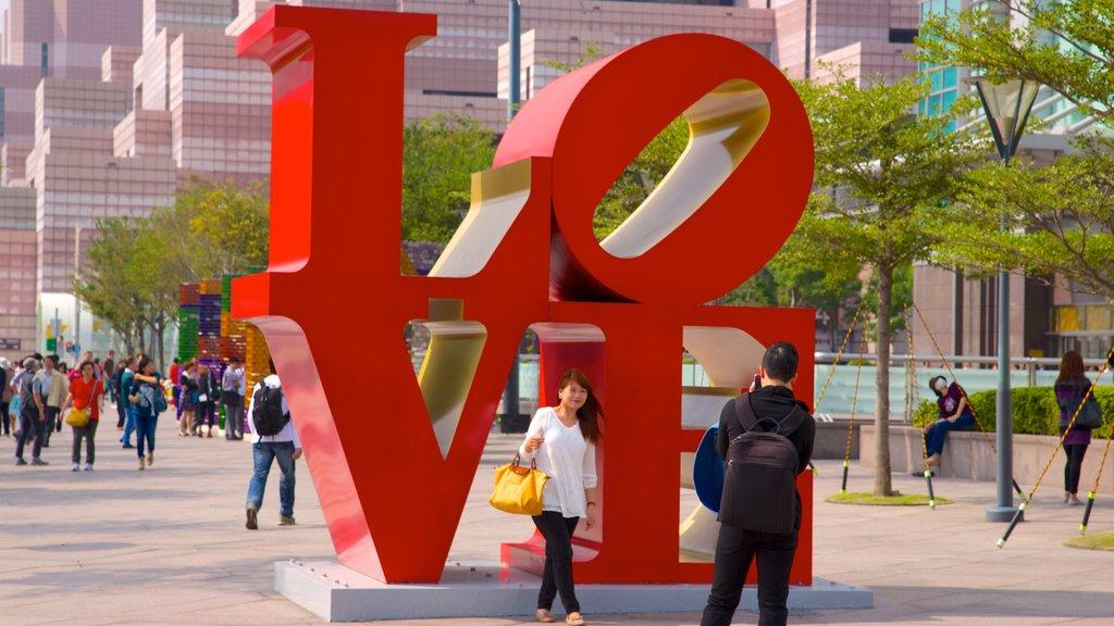 Taipei 101 mostrando una ciudad, arte al aire libre y arte