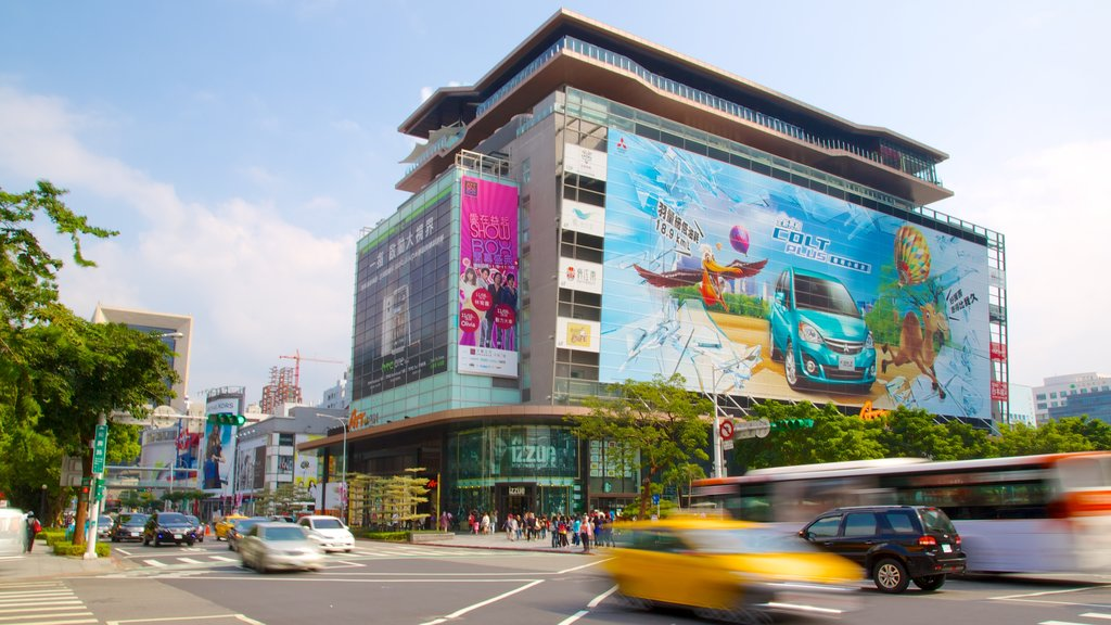 Taipei 101 featuring a city, signage and street scenes