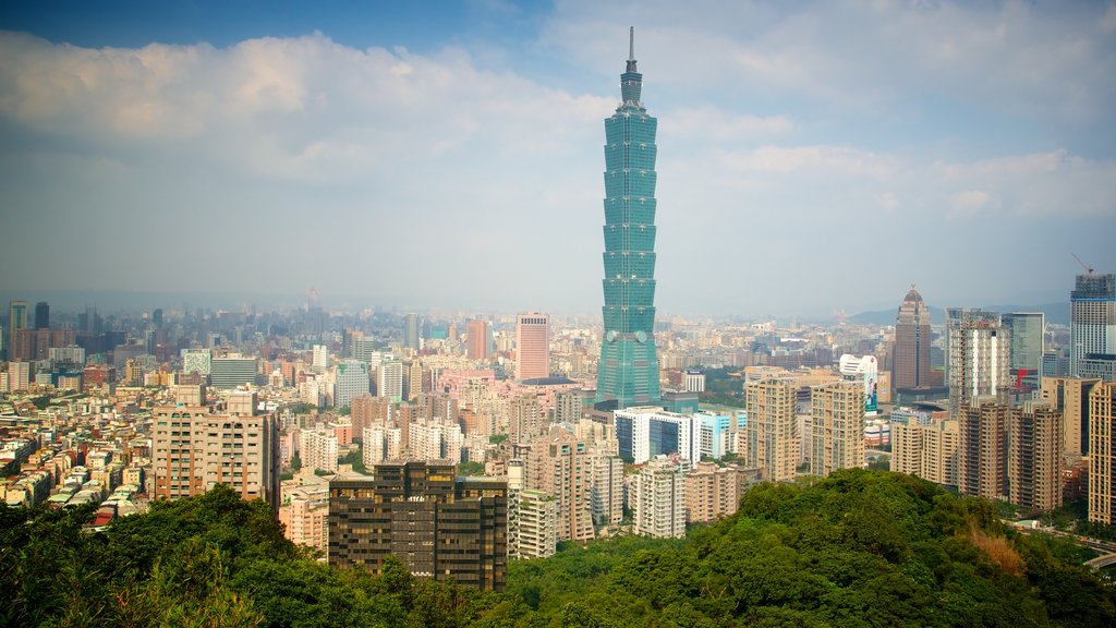 Taipei 101 which includes city views, a high rise building and a city