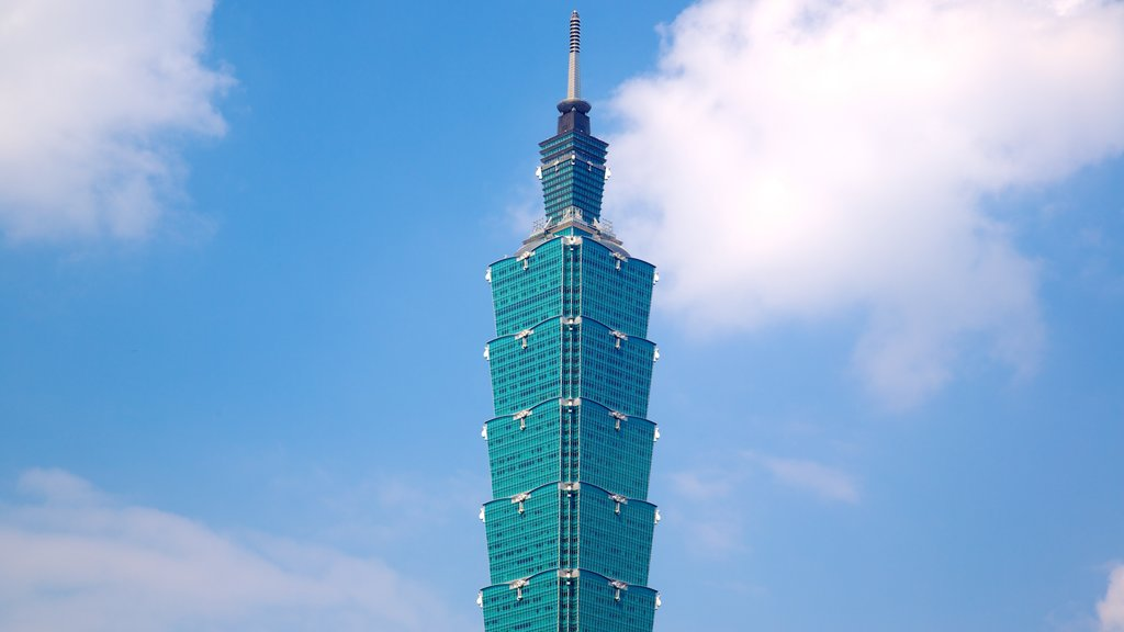 Taipei 101 which includes skyline, modern architecture and a high rise building