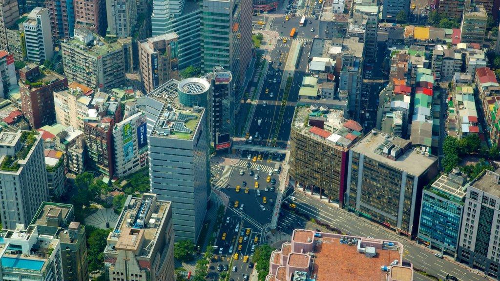 Taipei 101 mostrando distrito financiero central, una ciudad y un edificio de gran altura