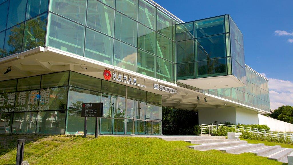 Museo de Bellas Artes de Taipei mostrando arquitectura moderna y arte