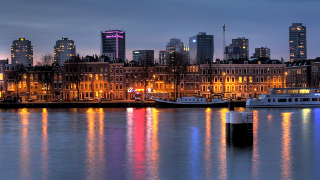 Rotterdam which includes boating, a city and a river or creek