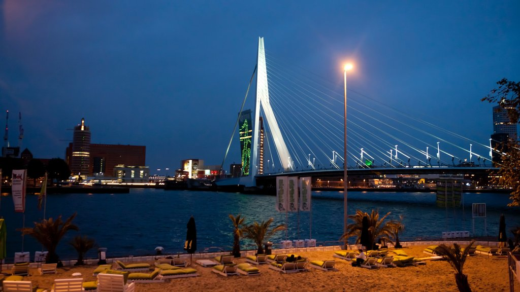 Rotterdam which includes modern architecture, a bridge and a city