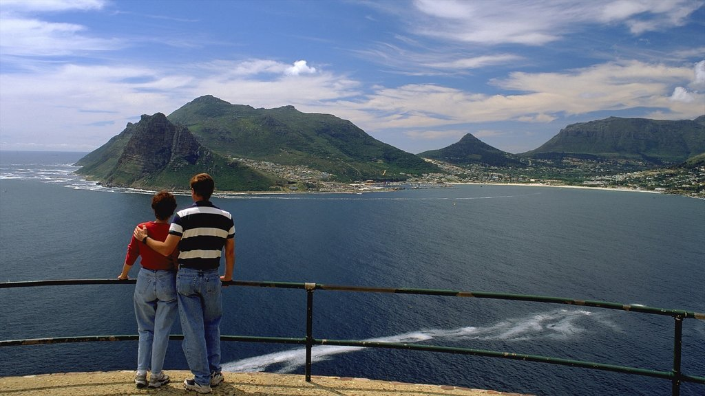 Hout Bay Beach showing a coastal town, views and mountains