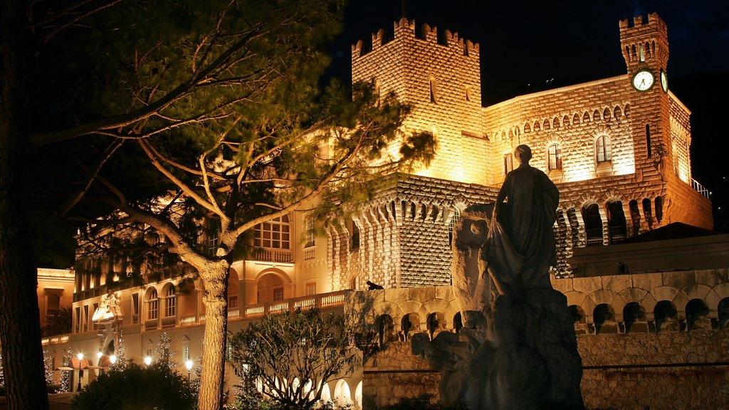 Monaco which includes heritage architecture, a statue or sculpture and a castle