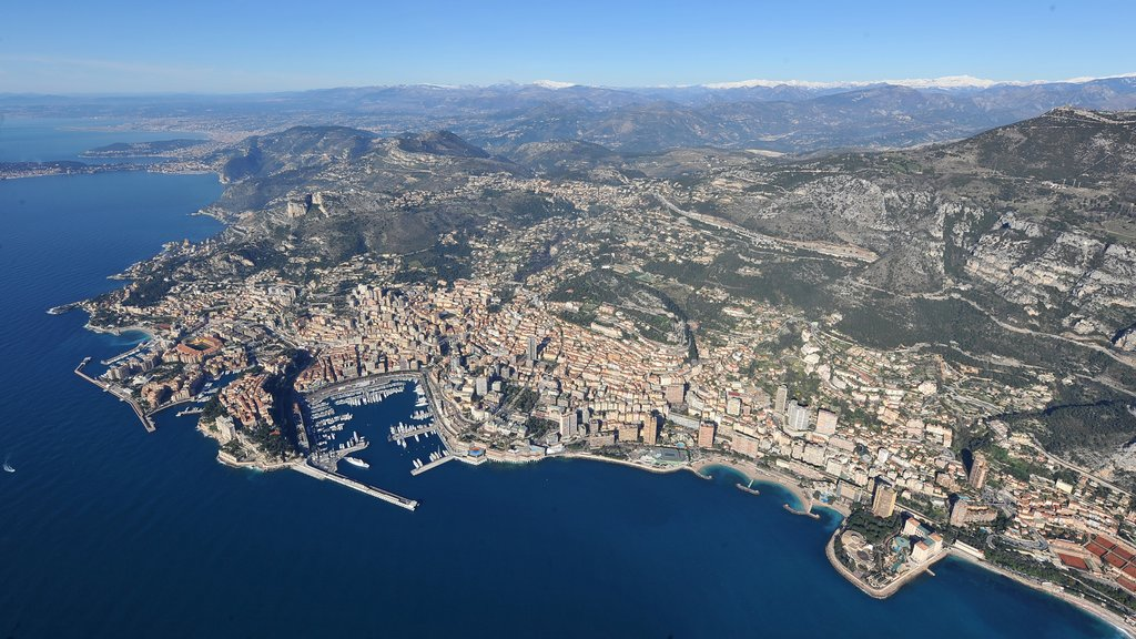 Monaco showing a bay or harbor, a city and general coastal views