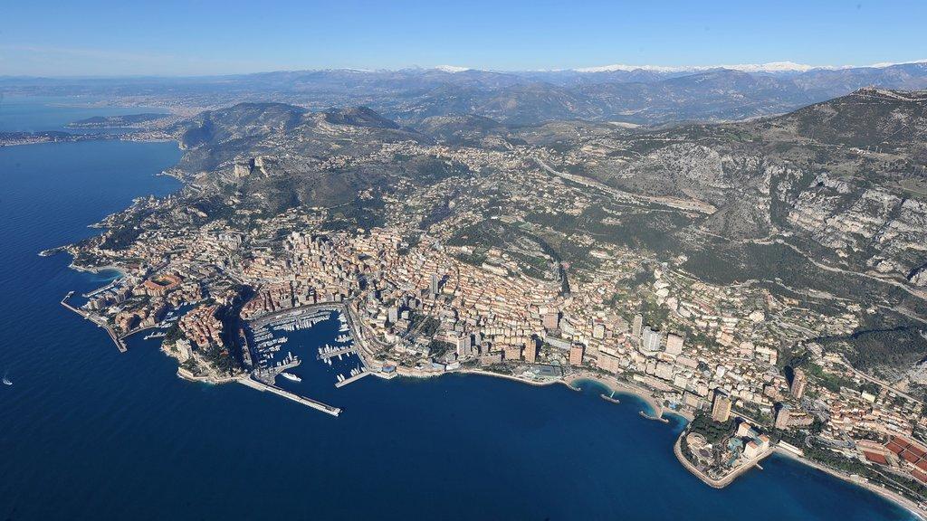 Mónaco ofreciendo una bahía o puerto, vistas generales de la costa y una ciudad