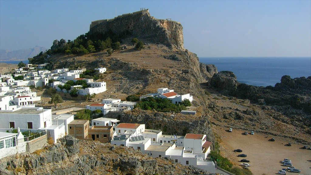 Lindos which includes heritage architecture, general coastal views and skyline