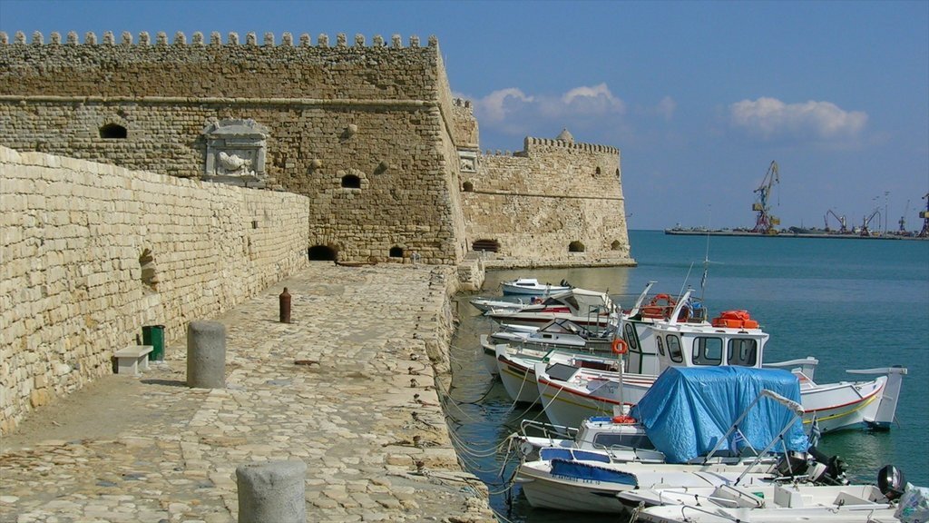 Heraklion featuring boating, a bay or harbor and a castle