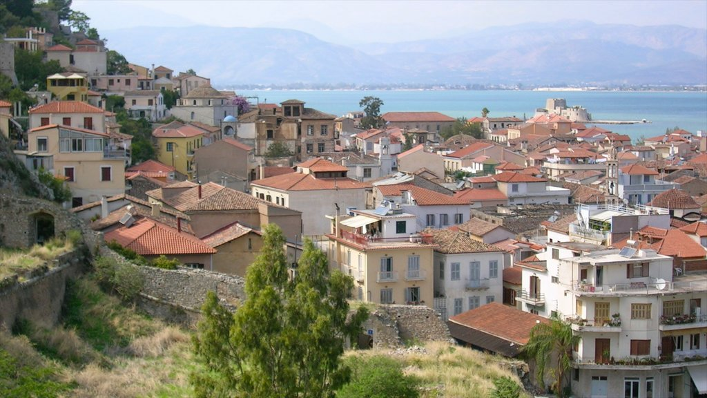 Nafplio which includes a coastal town, a city and a house