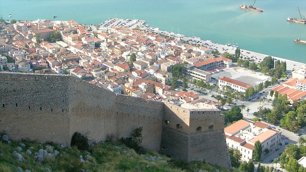 Nafplio featuring general coastal views, a coastal town and heritage architecture