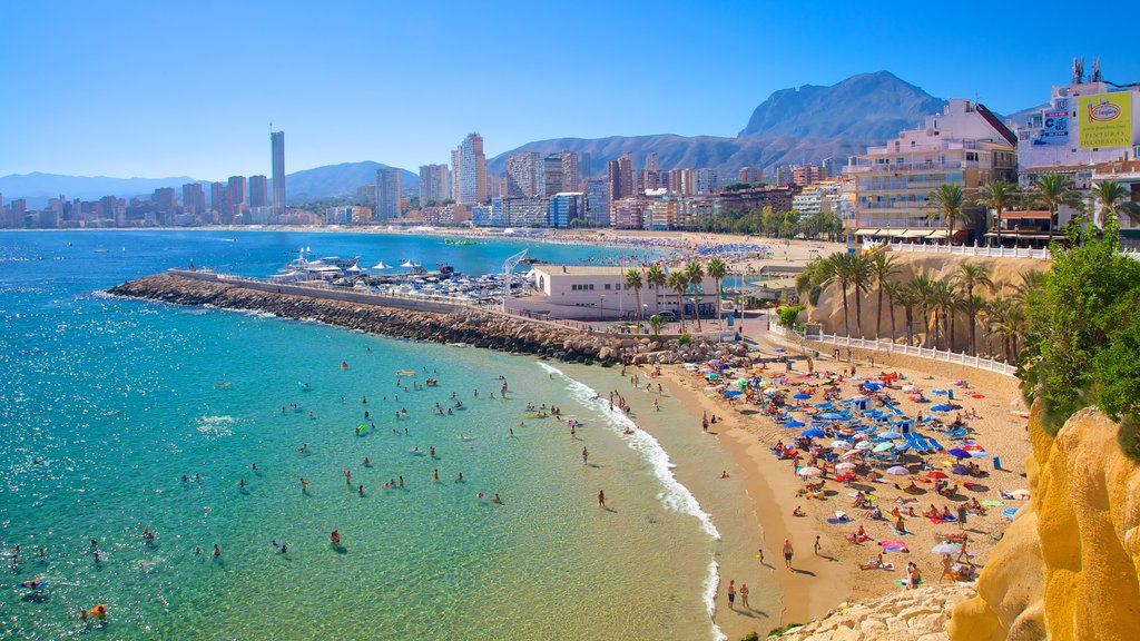 Benidorm showing swimming, a coastal town and a sandy beach