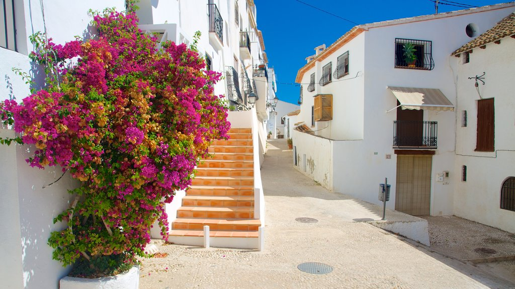 Altea which includes street scenes, a small town or village and flowers