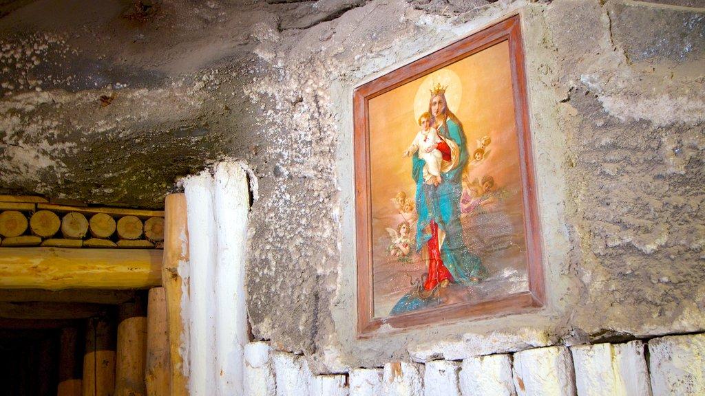 Wieliczka Salt Mine showing interior views and religious elements