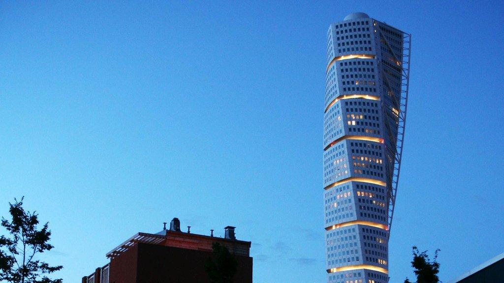 Malmo which includes modern architecture and a skyscraper