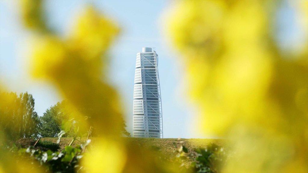 Malmo showing modern architecture and a skyscraper