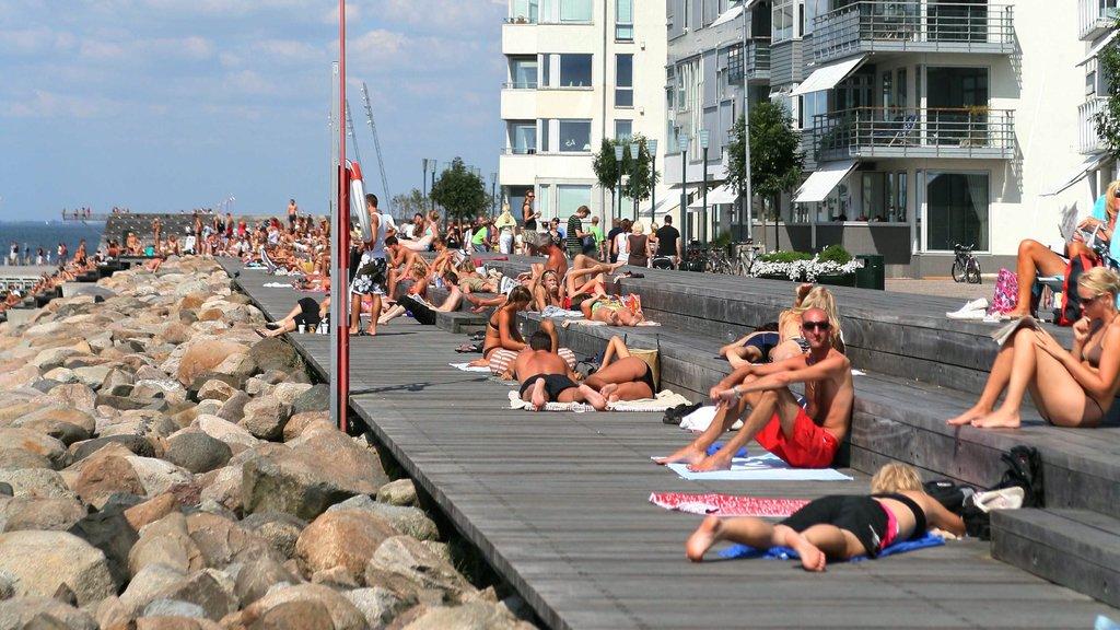 Malmo ofreciendo costa rocosa, una playa de guijarros y una ciudad costera