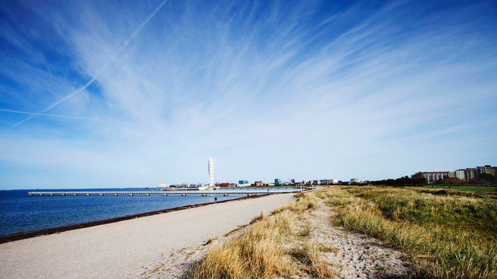 Malmo which includes landscape views, a beach and skyline
