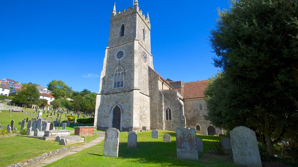 Hythe which includes religious aspects, a church or cathedral and a cemetery