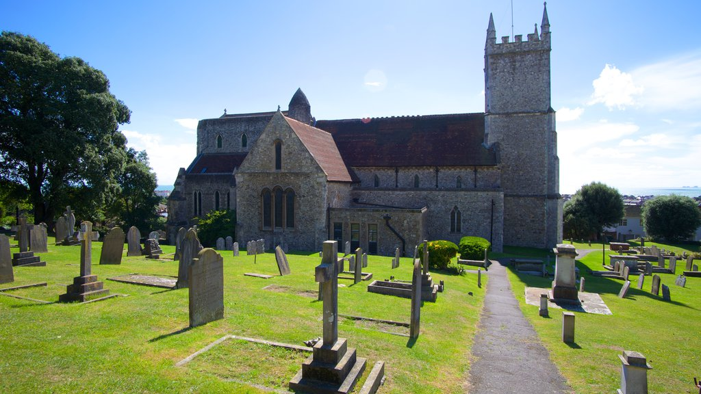 Hythe which includes a cemetery, a church or cathedral and a castle