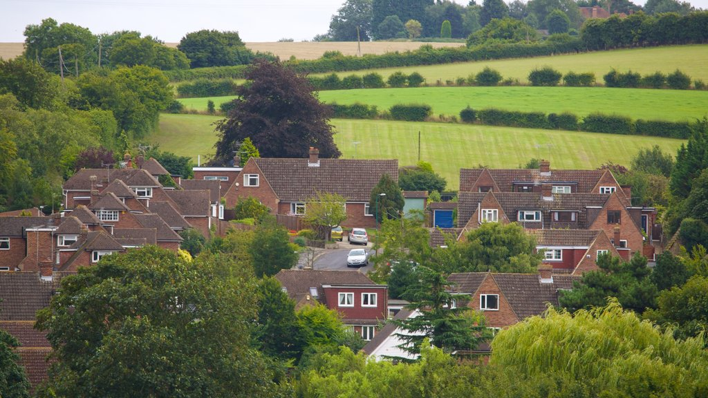 Kent which includes farmland and a small town or village
