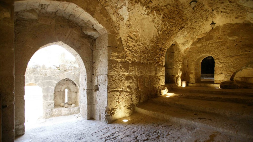 Ajloun Castle which includes heritage architecture and interior views
