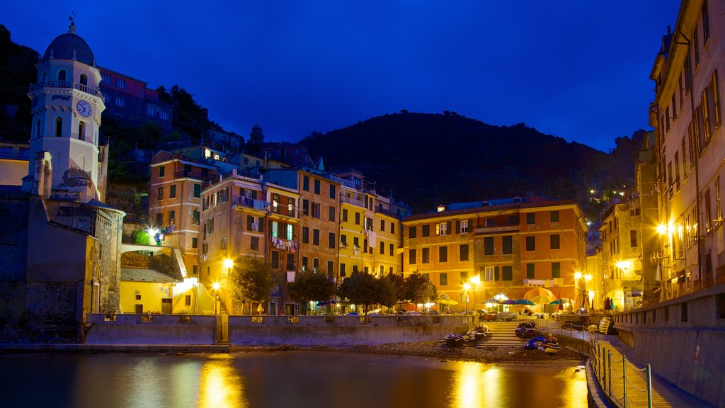 Vernazza showing night scenes and a coastal town