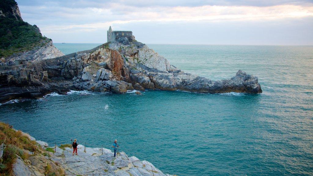 La Spezia which includes rocky coastline, a coastal town and general coastal views